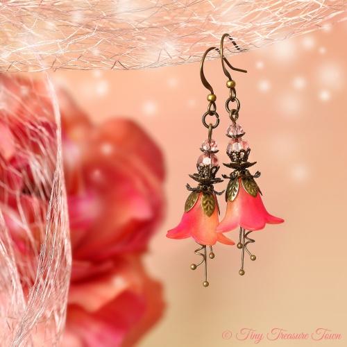 Feenblumen Ohrringe Farben Bronze Hellgelb Neonpink-31