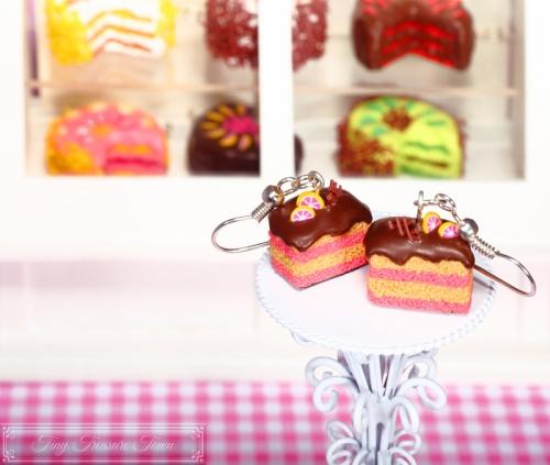 Fimo Torten Ohrringe - Pinke Grapefruit Schokolade