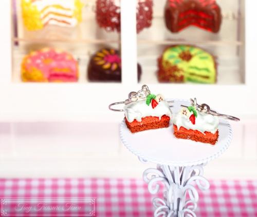 Fimo Torten Ohrringe - Erdbeere Kiwi Banane