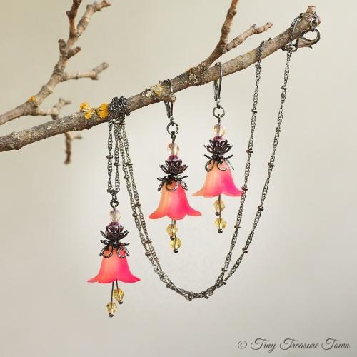 Feenblumen Set Ohrringe und Halskette Farben Gunmetal Hellgelb Neonpink-31