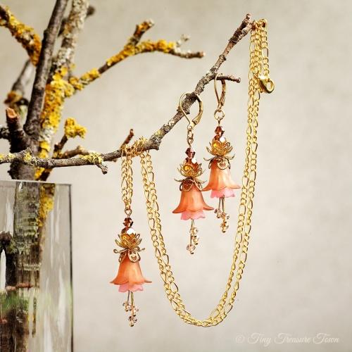 Feenblumen Set - Ohrringe und Halskette