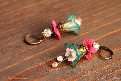 Feenblumen Ohrringe - Bronze Petrol Pink Rosa