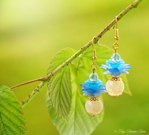 Geheimer Garten Ohrringe Farben Gold Naturweiß Blau-31