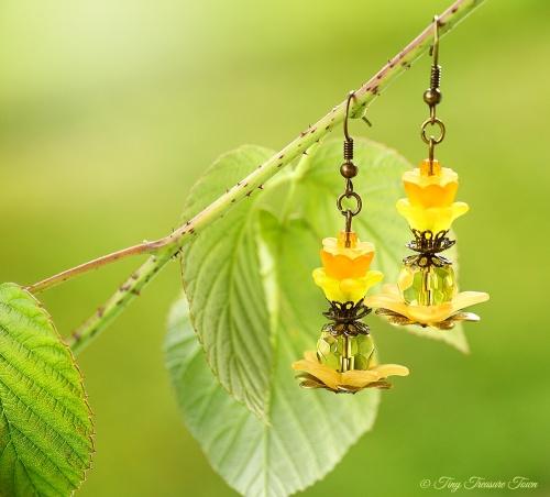 Geheimer Garten Ohrringe Farben Bronze Orange Gelb-31