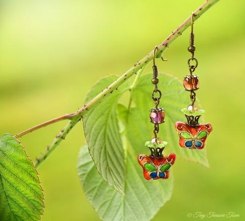 Geheimer Garten Ohrringe Farben Bronze Grün Lila Altrosa-31