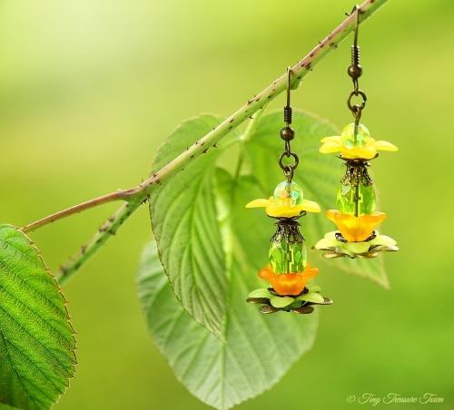 Geheimer Garten Ohrringe - Farben Bronze Grün Orange