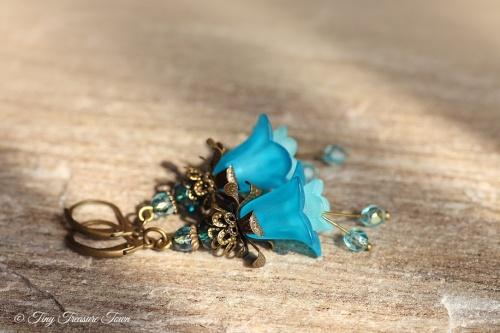 Feenblumen Ohrringe Farben Bronze Türkisblau mit 925er Sterlingsilber Ohrhaken-31