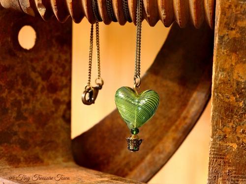 Herz Heißluftballon Halskette Grün Bronzefarben-31