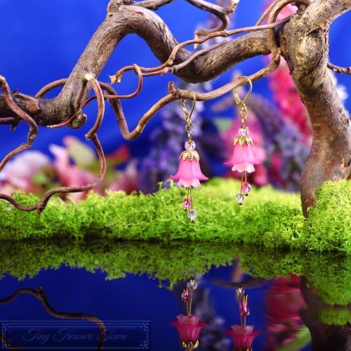 Feenblumen Ohrringe Gold Pink Rosa-31