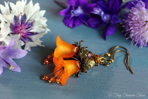 Feenblumen Ohrringe Farben Bronze Orange-31