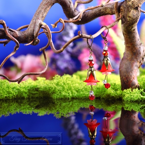 Feenblumen Ohrringe Bronze Rot Rosa-31