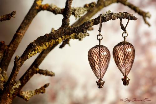 Heißluftballon Ohrringe Bronze Braun Transparent-31
