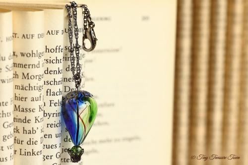 Heißluftballon Halskette Blau Grün Gunmetal-31