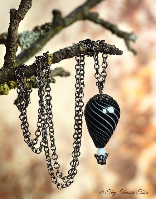 Heißluftballon Halskette Gunmetal Schwarz Weiß-31