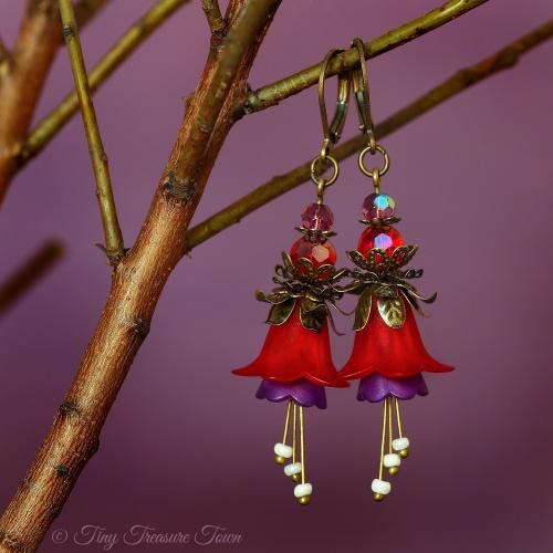 Feenblumen Ohrringe Farben Bronze Dunkelrot Lila-31