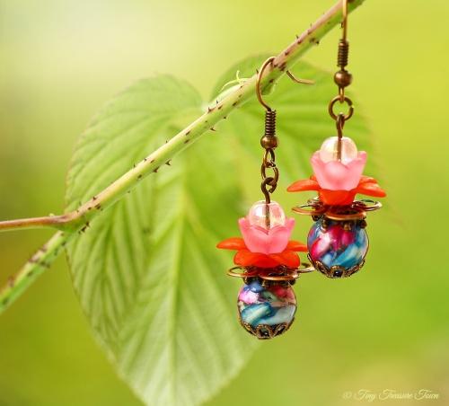 Geheimer Garten Ohrringe Farben Kupfer Rosa Rot Bunt-31