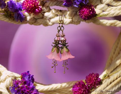 Feenblumen Ohrringe Farben Bronze Rosa-31