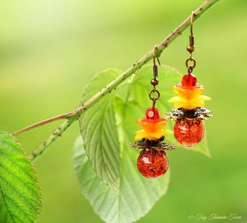 Geheimer Garten Ohrringe Farben Kupfer Lachs Rot Orange Gelb-31