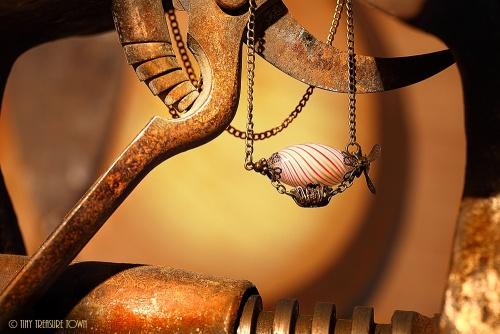 Luftschiff Halskette Bronzefarben Weiß Mint Orange-31