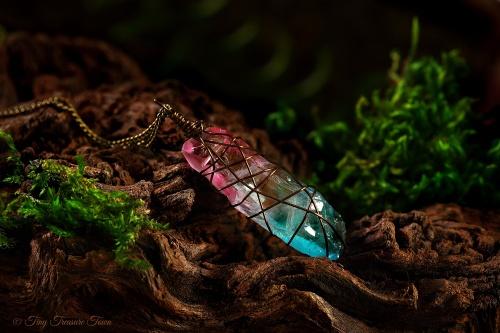 Seelenstein Halskette Quarzkristall in Rosa und Blau-31
