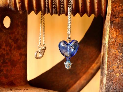 Herz Heißluftballon Halskette Blau Türkis Schwarz Silberfarben-31