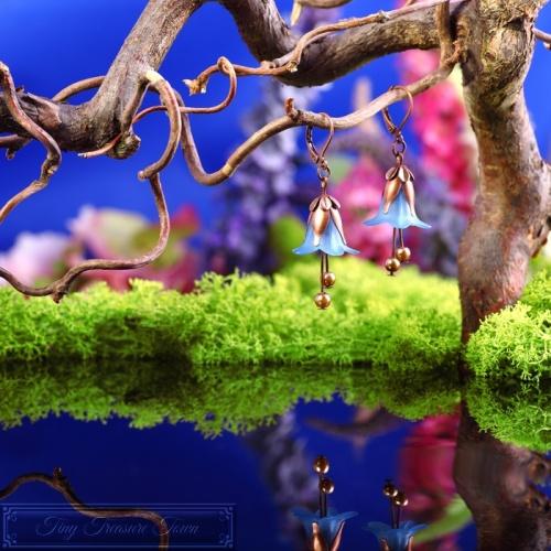Feenblumen Ohrringe Kupfer Blau-31