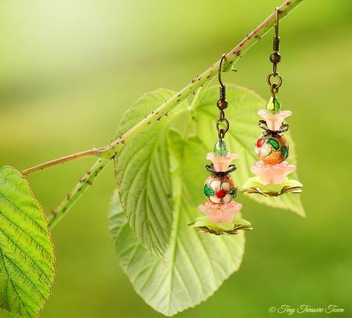 Geheimer Garten Ohrringe Farben Bronze Rosa Grün-31