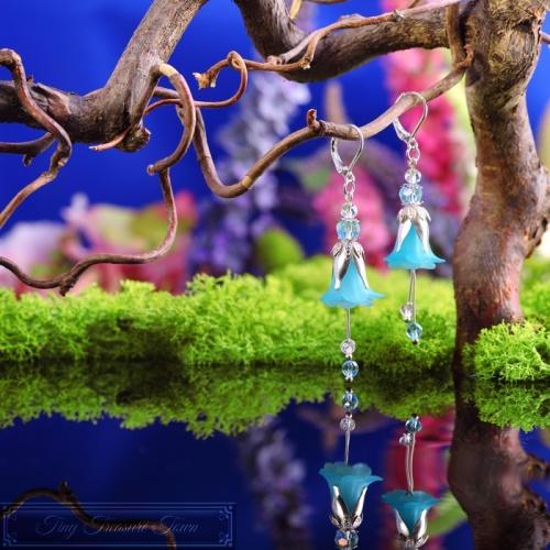 Feenblumen Ohrringe Silber Türkis-31