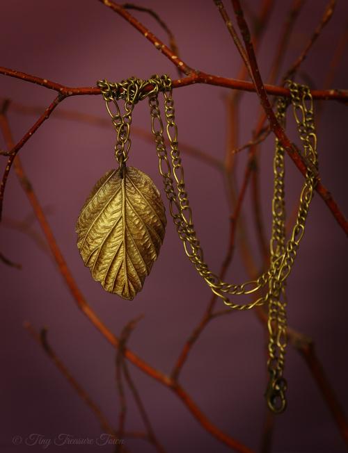 """Handgemachte """"Waldgeheimnis"""" Blatt Halskette Bronzefarben schattiert-31"""