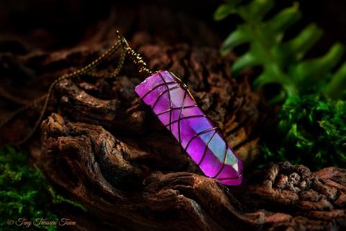 Seelenstein Halskette Pinker Quarzkristall mit Regenbogenschimmer-31