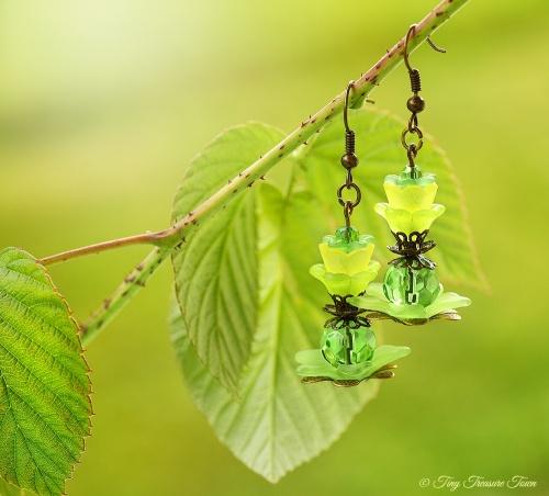 Geheimer Garten Ohrringe Farben Bronze Grün Gelb-31