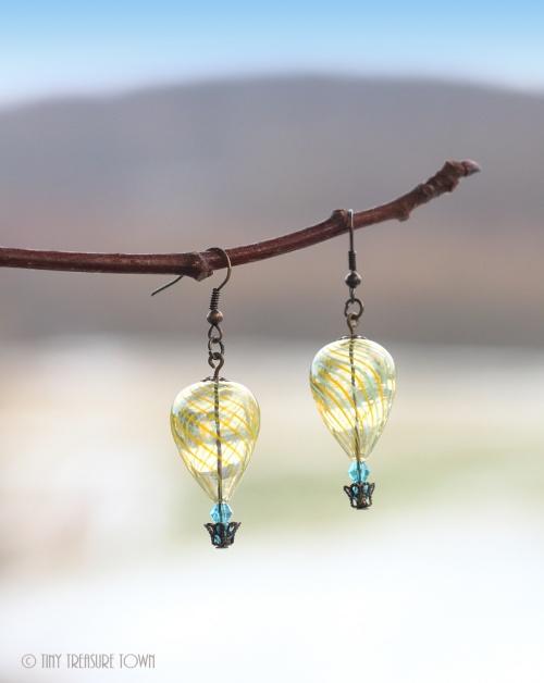 Heißluftballon Ohrringe Bronze Gelb Blau Transparent-31