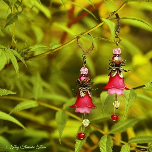 Feenblumen Ohrringe Farben Bronze Dunkelrot Rosa-31