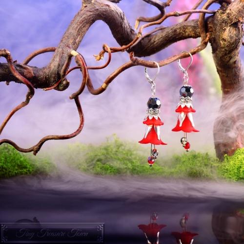 Feenblumen Ohrringe Silber Rot Anthrazit-31