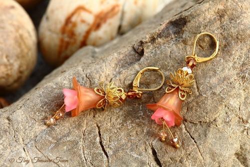 Feenblumen Ohrringe Farben Messing Gold Hellbraun Rosa-31