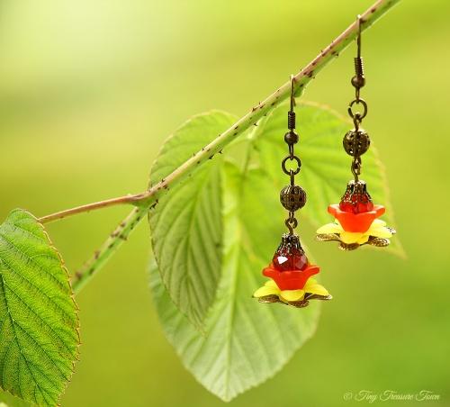 Geheimer Garten Ohrringe Farben Bronze Rot Gelb-31