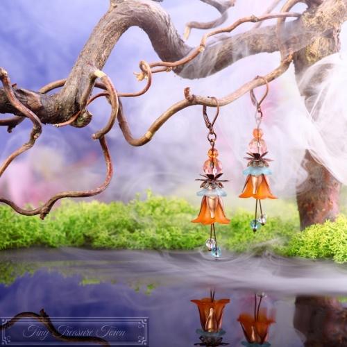 Feenblumen Ohrringe Kupfer Orange Hellblau-31