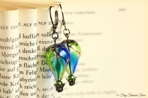 Heißluftballon Ohrringe Blau Grün Gunmetal-31
