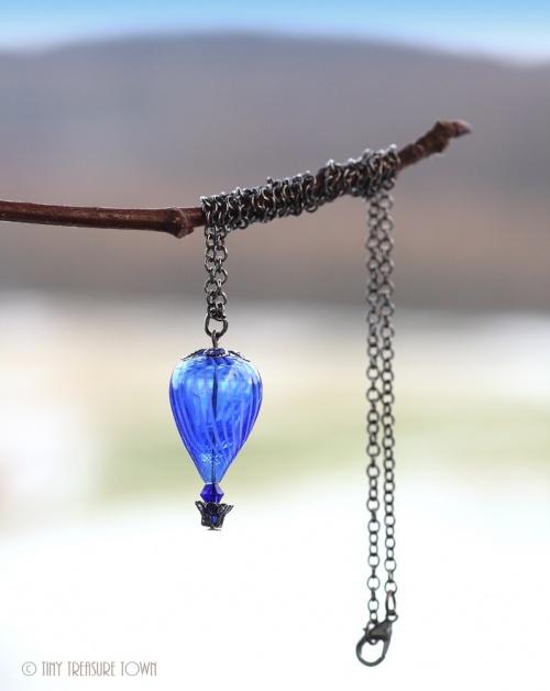 Heißluftballon Halskette Gunmetal Dunkelblau Weiß Transparent-31