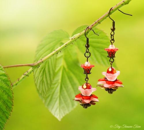 Geheimer Garten Ohrringe Farben Bronze Rot Rosa-31