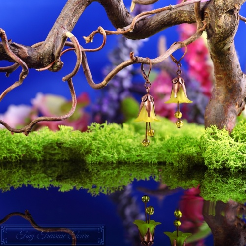 Feenblumen Ohrringe Kupfer Gelb-31