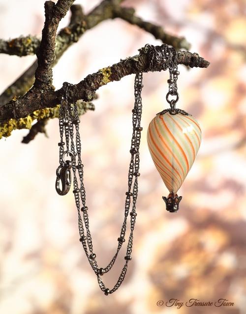 Heißluftballon Halskette Gunmetal Weiß Orange Mint-31