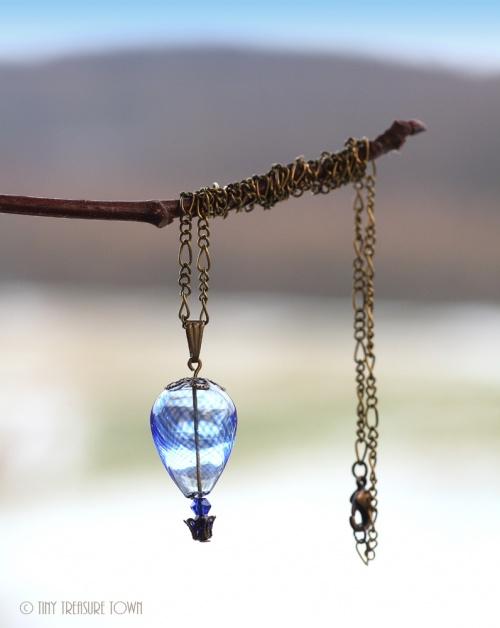 Heißluftballon Halskette Bronze Blau Transparent-31