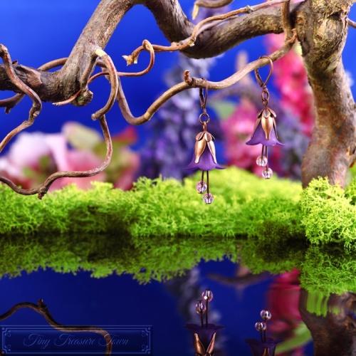 Feenblumen Ohrringe Kupfer Lila-31