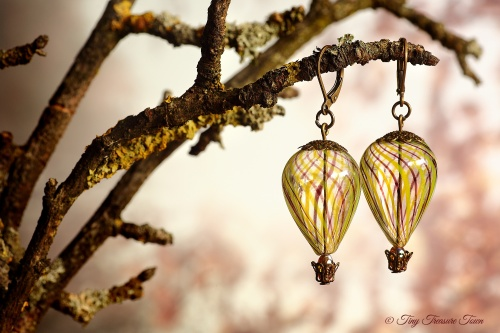 Heißluftballon Ohrringe Bronze Schwarzlila Gelb Transparent-31