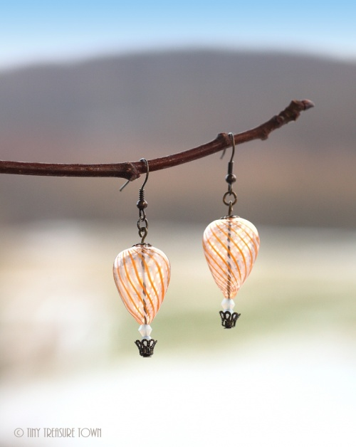 Heißluftballon Ohrringe Bronze Orange Weiß Transparent-31