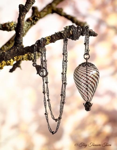 Heißluftballon Halskette Gunmetal Weiß Schwarz Transparent-31