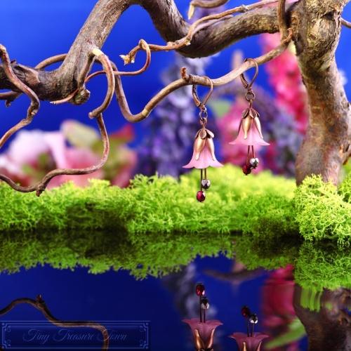 Feenblumen Ohrringe Kupfer Rosa-31