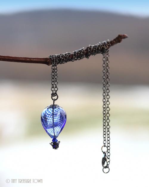 Heißluftballon Halskette Gunmetal Blau Transparent-31