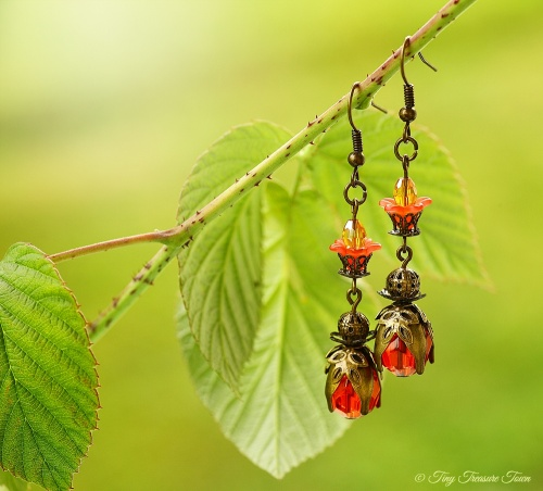 Geheimer Garten Ohrringe Farben Bronze Rot-31